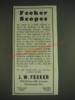 1933 J.W. Fecker Scopes Ad