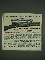 1933 Weaver 3-30 Telescope Sight Ad - The target before your eye