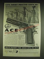 1934 Colt Ace Automatic Pistol Ad - Cuts target practice costs 85%