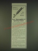 1934 NRA B&L Prismatic Spotting Scope Ad - Choose a Thorobred and get a winner