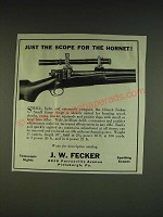 1934 J.W. Fecker Small Game Scope Ad - Just the scope for the hornet