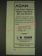 1934 J.W. Fecker scopes Ad - Again At the Eastern Small-Bore matches
