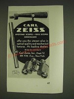 1934 Carl Zeiss Spotting Scopes, Rifle Scopes and Binoculars Ad