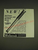 1934 Wollensak 20-Power Telescope and Spotting Scope Ad