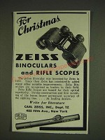 1934 Zeiss Binoculars and Rifle scopes Ad - For Christmas