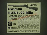 1934 Crosman Silent .22 Rifle Ad - Adjustable Peep Sight