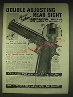 1935 Colt National Match .45 Automatic Pistol Ad - Double adjusting rear sight