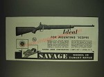 1935 Savage Model 19 Rifle Ad - Ideal for mounting scopes