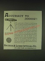 1935 Bausch & Lomb N.R.A. Model Prism Spotting Scope Ad - Accuracy to .000002!