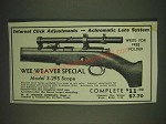1935 Wee Weaver Special Model 3-29S Scope Ad - Internal Click Adjustments
