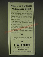 1935 J.W. Fecker scopes Ad - There is a Fecker telescopic sight
