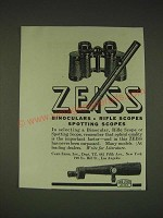 1935 Zeiss Bincoculars, Rifle Scopes and Spotting Scopes Ad