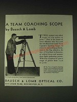 1936 Bausch & Lomb Team Captain's Spotting Scope Ad - C.S. Landis