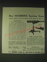 1936 Mossberg Model A Spotshot Spotting  Scope and Model A Folding Stand Ad