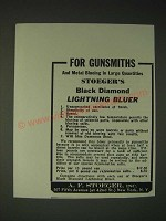 1936 A.F. Stoeger Black Diamond Lightning Bluer Ad - For Gunsmiths