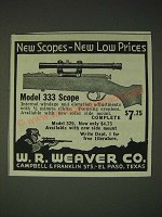 1936 Weaver Model 333 Scope Ad - new low prices