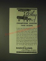 1937 bausch & Lomb spotting Scope Ad - Why champions choose this scope