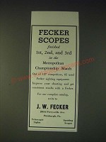 1937 J.W. Fecker Scopes Ad - Fecker Scopes finished 1st, 2nd, and 3rd