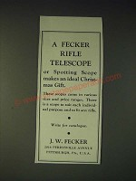 1937 j.W. Fecker Scopes Ad - An Ideal Christmas Gift