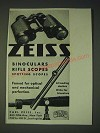 1937 zeiss Binoculars, rifle scopes and spotting scopes Ad
