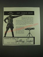 1938 bausch & Lomb N.R.A. Spotting Scope Ad - Capt. Charles Askins