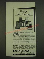 1938 bausch & Lomb 6 power, 30mm Binocular Ad - Design for Seeing