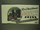 1938 Zeiss Rifle Scopes and Featherweight Binoculars Ad - For Christmas