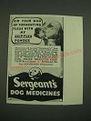1938 Sergeant's Dog Medicines Ad - Rid your dog of tormenting fleas