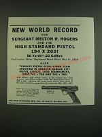 1939 High Standard Model E Pistol Ad - World record Sergeant Melton R. Rogers