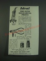 1939 Lyman Ideal Tools Ad - Tru-Line Press and No. 10 Hand Loading Tool