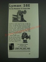 1939 Lyman Sights Ad - No. 58E and 77H Ad - for new Winchester 75 Target Rifle