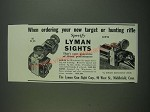 1939 Lyman Sights Ad - 48WJS & 48FH - When ordering new target or hunting Rifle