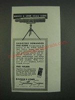 1939 Bausch & Lomb 65mm Scope Ad - Shooters demanded this scope