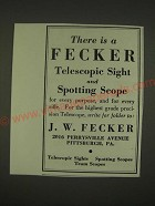 1939 J.W. Fecker Sights & Scopes Ad - For Every Purpose