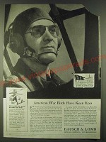 1942 Bausch & Lomb Ray-Ban Sun Glasses Ad - American War Birds have keen eyes