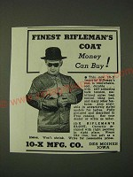 1942 10-X Imperial Rifleman's Coat Ad - Finest Rifleman's coat money can buy!
