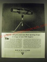 1945 Bausch & Lomb Spotting Scope Ad - Balcote
