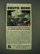 1945 South Bend Lathe Works Ad - South Bend 9-inch Precision Lathe