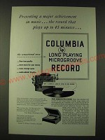 1948 Columbia LP Long Playing Microgroove Record Ad - Major Achievement