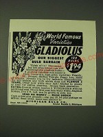 1948 Michigan Bulb Co. Ad - World Famous Varieties Gladiolus our biggest bulb