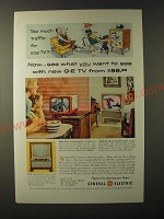 1955 General Electric Televisions: Personal TV, 24-Inch TV and Clock-TV Ad
