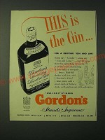 1955 Gordon's Gin Ad - This is the Gin… for a reviving Gin and Lime