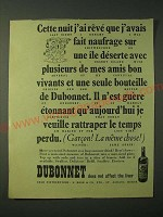1955 Dubonnet Aperitif Ad - Last night I dreamt I was shipwrecked on a desert