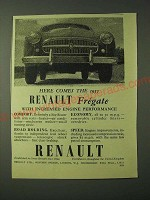 1955 Renault Fregate Ad - Here comes Renault with increased engine performance
