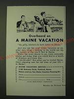 1955 Maine Tourism Ad - Overheard on Vacation By Golly, lobsters do Taste Better