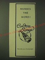 1955 Mumm Cordon Rouge Champagne Ad - Mumm's the Word!