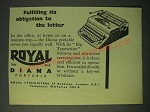 1955 Royal Diana Portable Typewriter Ad - Fulfilling its obligation to Letter