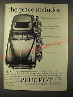 1960 Peugeot Car Ad - the price includes: