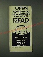 1960 National Library Week Ad - Open wonderful new worlds wake up and read