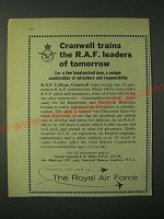 1960 The Royal Air Force Ad - Cranwell trains the R.A.F. leaders of tomorrow